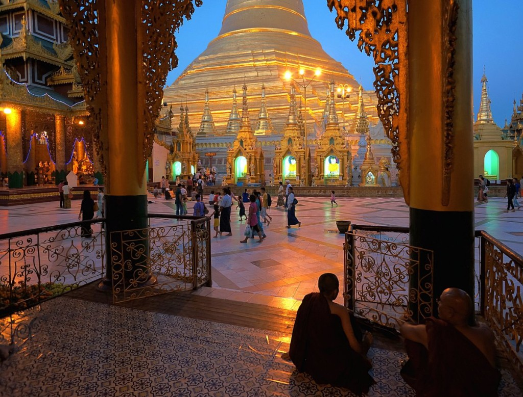 Two male monks at the Shwedagon Paya, Yangon, Myanmar.